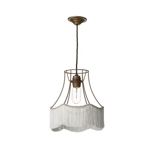 Maine 1 Light Pendant Bronze + Ivory Fringe, MAI8663S (7-10 day Delivery) (Double Insulated)